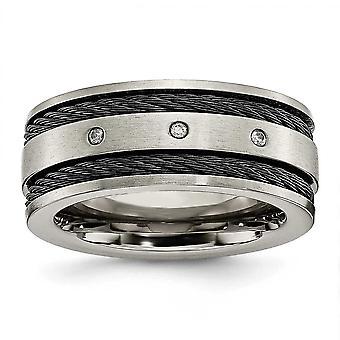 Titanium geborsteld Engravable zwarte kabel en diamant 10mm Band Ring - Ringmaat: 8 tot en met 13