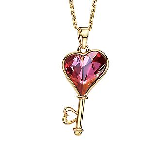 14K Gold Plated Key Heart Pendant
