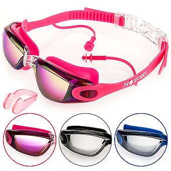 Proworks Anti-Fog, Mirrored, UV Protection Swimming-Goggles (Pink)