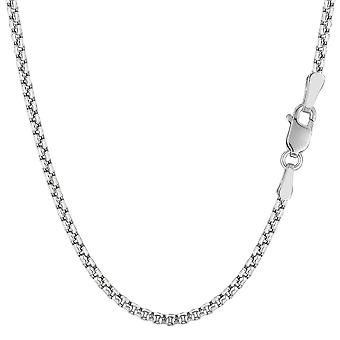 14k Yellow Gold Round Box Chain Necklace, 2.1mm