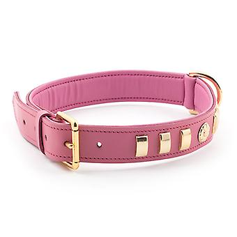 Heritage Deluxe Bull Terrier Leather Collar English Rose Pink 32mm X55-63cm Sz 8