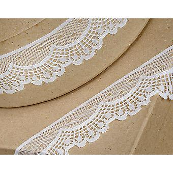 40mm Ivory Scalloped Lace Border Trim Ribbon for Craft - 5m