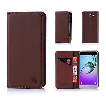 32e portefeuille classique en cuir véritable pour Samsung Galaxy J3 (2017) J327P - brun foncé