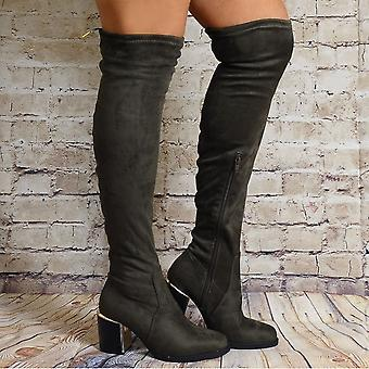 Shoe Closet Over The Knee Boots - Ladies Iffa10 Khaki Green Over The Knee High Stretch High Heels Boots