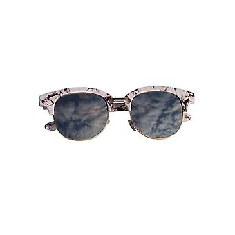 Marble look sunglasses with mirror glass white