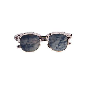 Marmor look Sonnenbrille mit Spiegelglas weiß