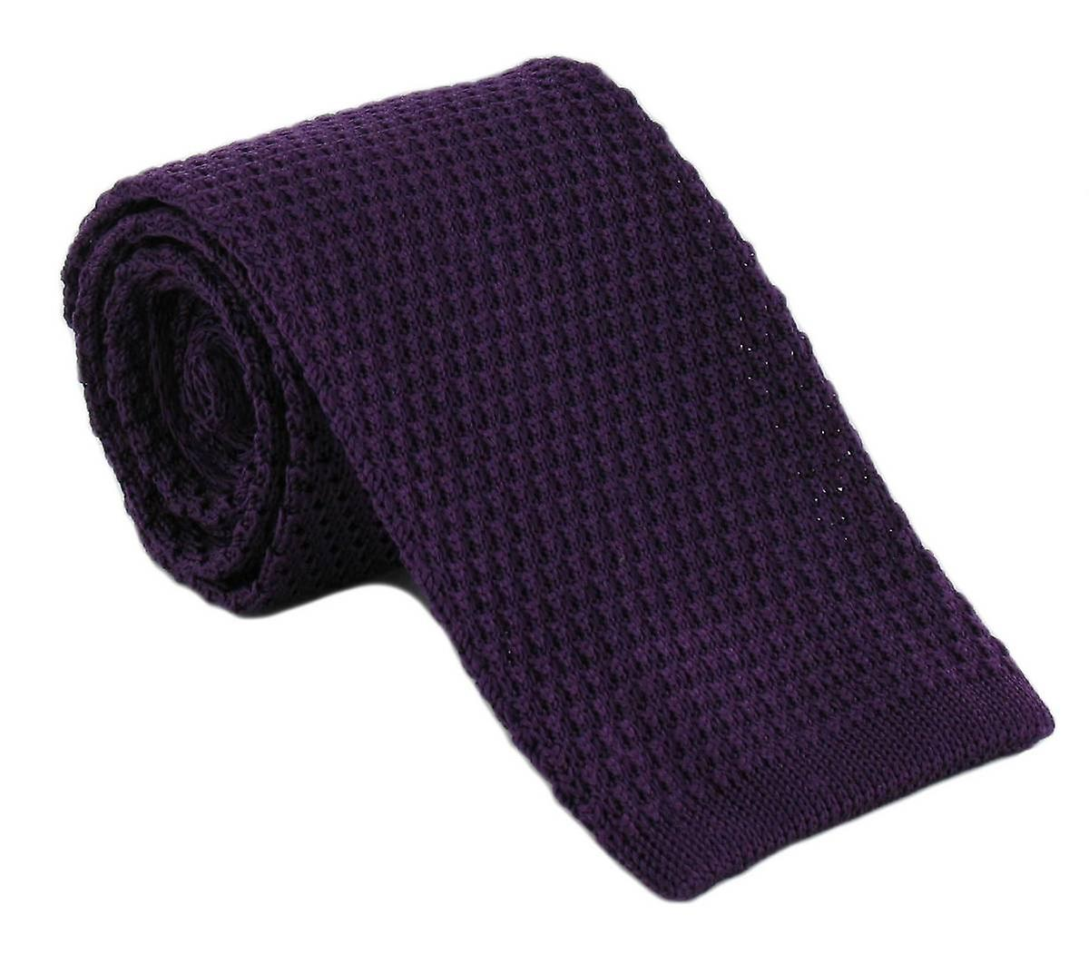 Michelsons of London Silk Knitted Tie - Purple