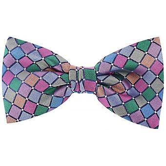 Knightsbridge Neckwear Diagonal Squares Silk Bow Tie - Multi-colour