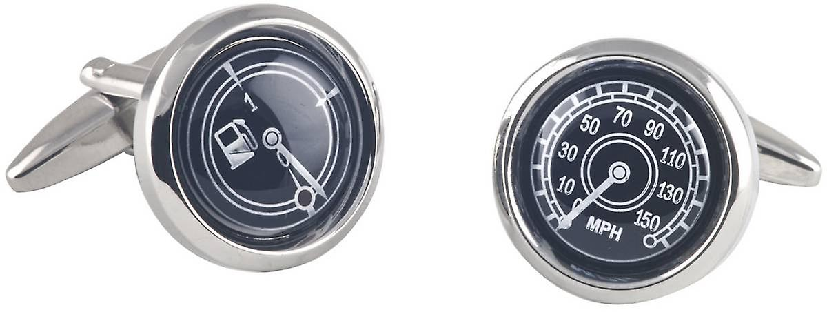 David Van Hagen Speedo and Petrol Gauge Cufflinks - Silver/Black
