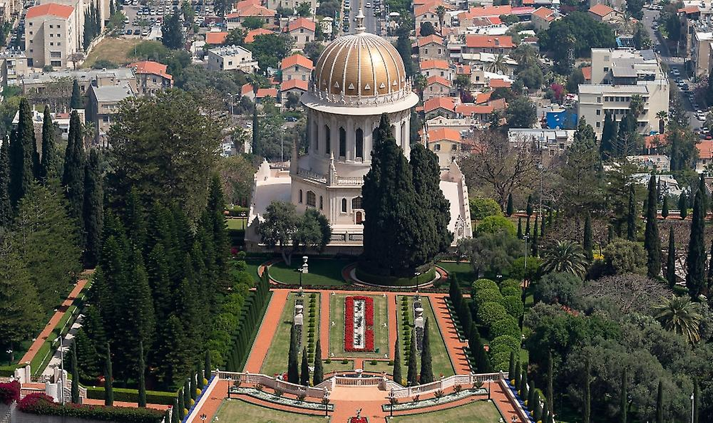 Elevated view of the Terraces of the Shrine of the Bab Bahai Gardens Gerhomme Colony Plaza Haifa Israel Poster Print by Panoramic Images (40 x 24)