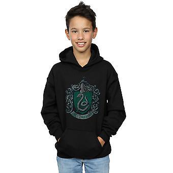Los chicos de Harry Potter Slytherin agobiados cresta sudadera con capucha