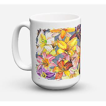Day Lillies Dishwasher Safe Microwavable Ceramic Coffee Mug 15 ounce