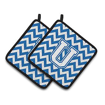 Letter U Chevron Blue and White Pair of Pot Holders