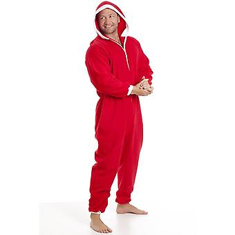 Camille Classic Mens All In One Red And White Santa Fleece Pyjama Onesie Size S-XXXL