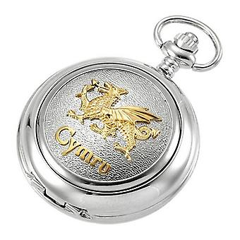 Woodford Welsh Dragon Quartz Chain Pocket Watch - Silver/Gold