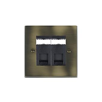 Hamilton Litestat Cheriton Victorian Antique Brass 2g RJ12 Outlet-Unshield BL