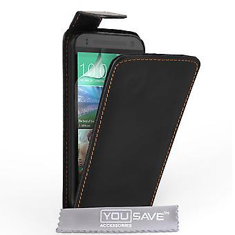 Caseflex HTC One Mini 2 echt leder Flip Case - zwart
