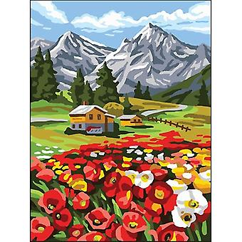 Collection D'Art Needlepoint Printed Tapestry Canvas 40X50cm-Poppies In The Mountains CD10501