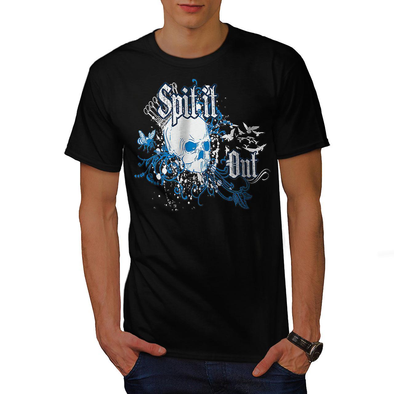 Spit It Out Queen Skull Men Black T-shirt | Wellcoda