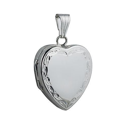Silver 24x20mm hand engraved scroll edge heart shaped Locket