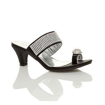 Ajvani womens plattform låg mitten av hälen peep toe toe post part diamante sandaler mule skor