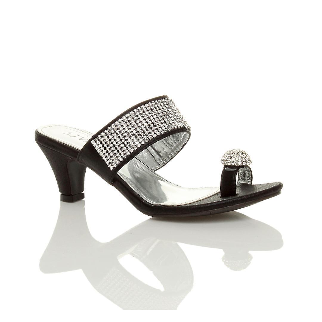 heel mule peep sandals party diamante Ajvani shoes toe platform post low womens mid toe qqanZ7