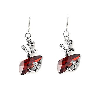 Crystal from Swarovski Elements red and Rhodium plate earrings