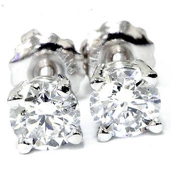 I/VS 1/2ct Genuine Round Diamond Studs Screw Back 14K White Gold