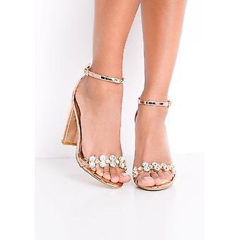 Cinturino metallico impreziosito Perspex con tacco sandali oro rosa
