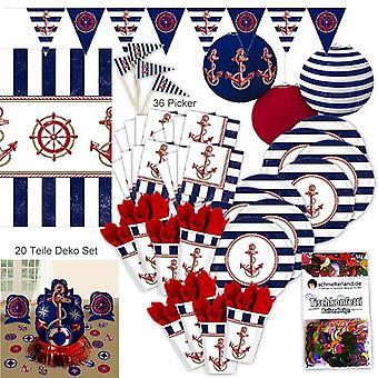 Marine sailor port party decoration set XL Kit 97 pieces for 8 guests Hamburg harbour party package