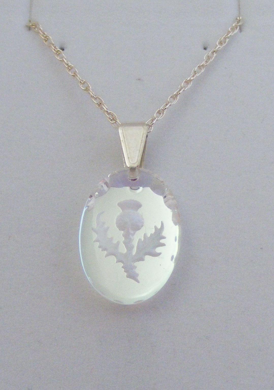 Aurora Borealis Small Oval Thistle Crystal Pendant