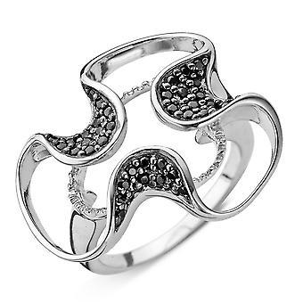Orphelia plata 925 anillo flor negra Zirconi ZR-3759