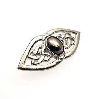 Handgemachte keltische Doppelknoten Hämatit Mondstein Zinn Brosche