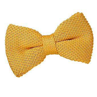 Calêndula amarelo malha tricotada gravata borboleta