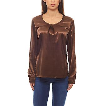 Business satin blouse long sleeves with pleat Braun RICK CARDONA