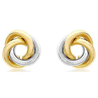 IBB London Large Knot Stud Earrings - Yellow Gold/Silver