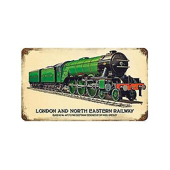 Lner Flying Scotsman Rusted Metal Sign 360Mm X 205Mm