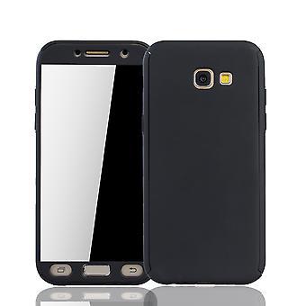 Samsung Galaxy A5 2017 Handy-Hülle Schutz-Case Cover Panzer Schutz Glas Schwarz
