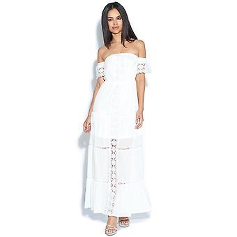 Lace Trim Bardot Maxi klänning