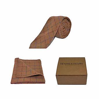 Heritage Check Rustic Brown Men's Tie & Pocket Square Set | Boxed