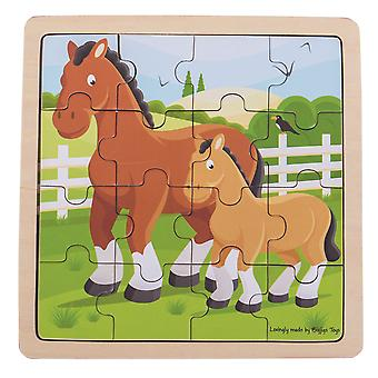 Bigjigs Toys Wooden Chunky Educational Horse & Foal Jigsaw Puzzle Children's