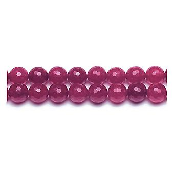 Packet 12 x Fuchsia Malaysian Jade 4mm Faceted Round Beads VP2485