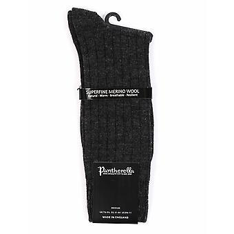 Pantherella Packington 5x1 Rib Merino Wool Socks - Charcoal