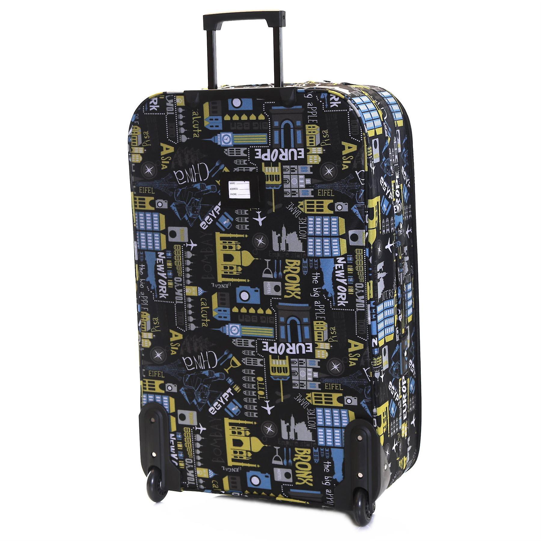Slimbridge Algarve 73 cm Super Lightweight Suitcase, Black/Blue