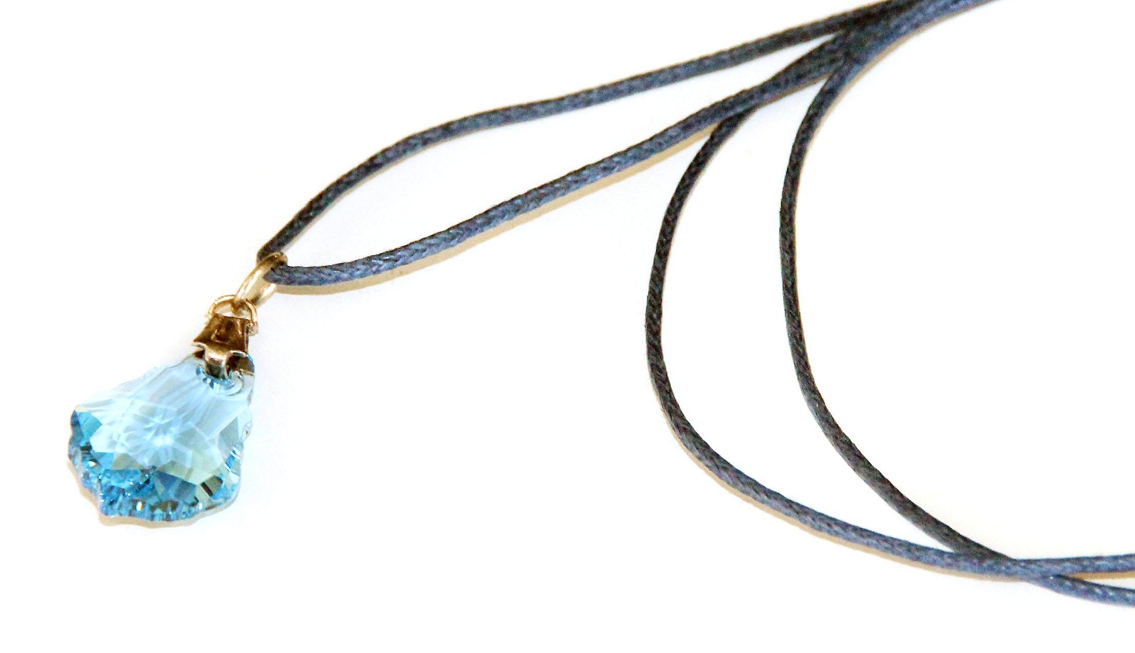 Waooh - Bijoux - Swarovski / Pendentif larme bleu et cordon ciré - Petit