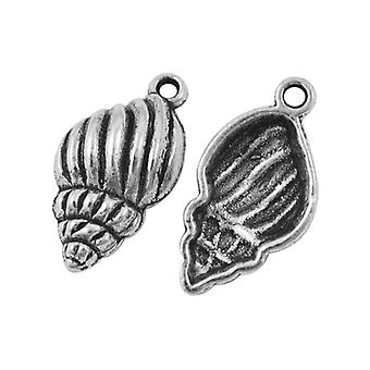 Packet 10 x Antique Silver Tibetan 26mm Shell Charm/Pendant ZX11325