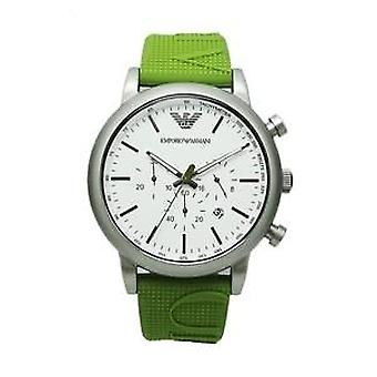 New in box emporio armani ar11022 46mm case luigi green silicone dial mens watch