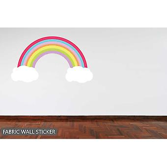 Fabric Reusable Wall Decal Pastel Rainbow and Clouds