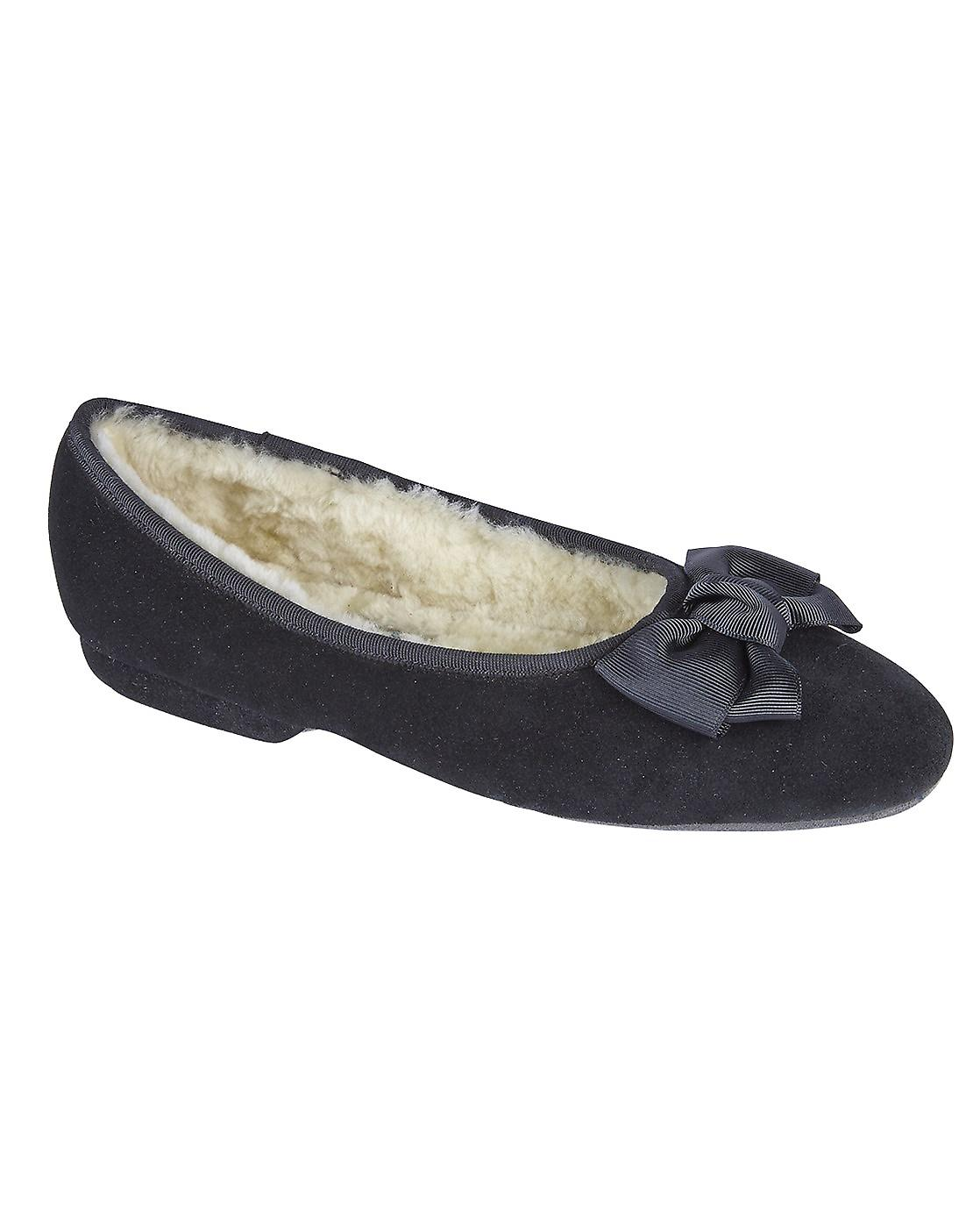 Ladies Ballerina Sheepskin Slippers - Black