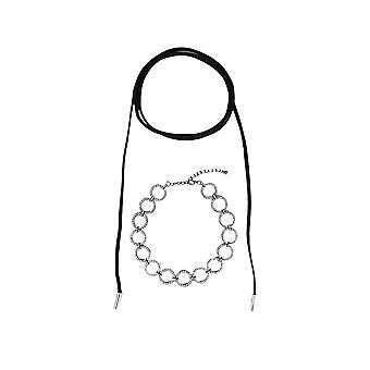 LMS Diamante Hoop Choker Paired With Black Cord Wrap